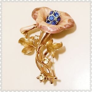Vintage Bell Flower Sapphire Lilac Pin Brooch